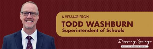 Message from Superintendent Washburn