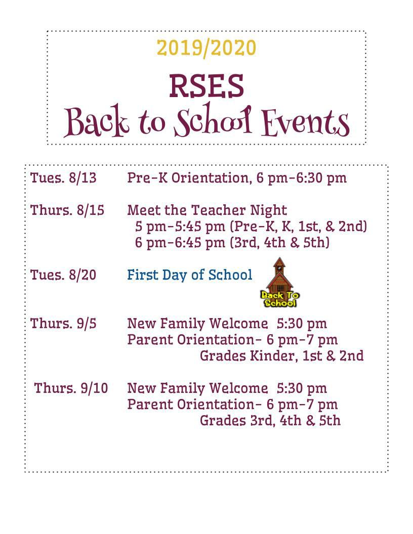 2019/2020 Back to School Events