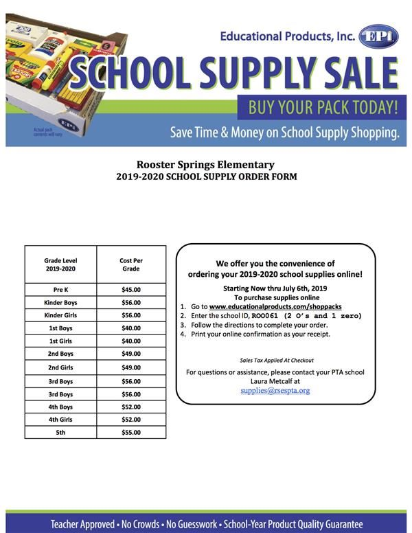Order 2019-2020 School Supplies through PTA by July 6, 2019